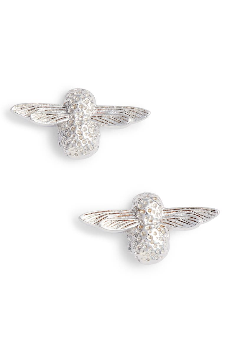 OLIVIA BURTON Bee Stud Earrings, Main, color, SILVER