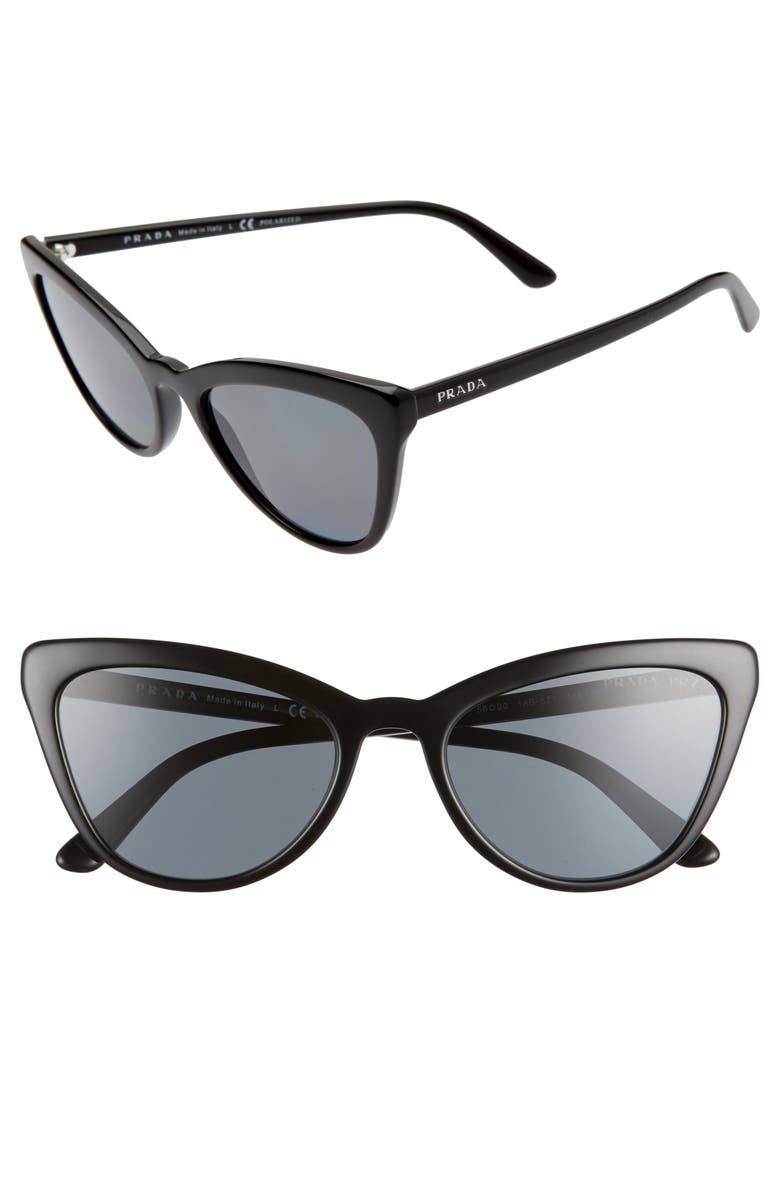 PRADA 56mm Polarized Cat Eye Sunglasses, Main, color, BLACK/ POLAR GREY