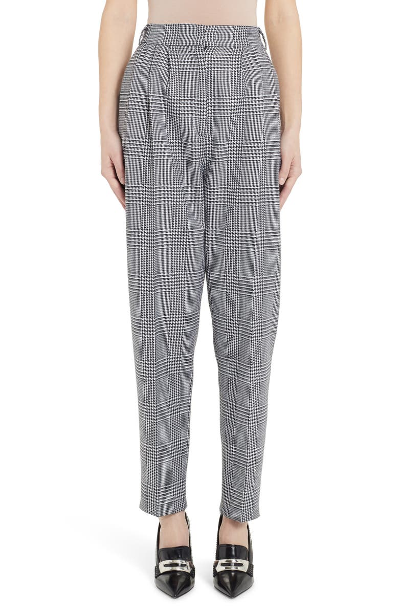 ALEXANDER MCQUEEN Houndstooth Pleated Wool Pants, Main, color, BLACK/ IVORY