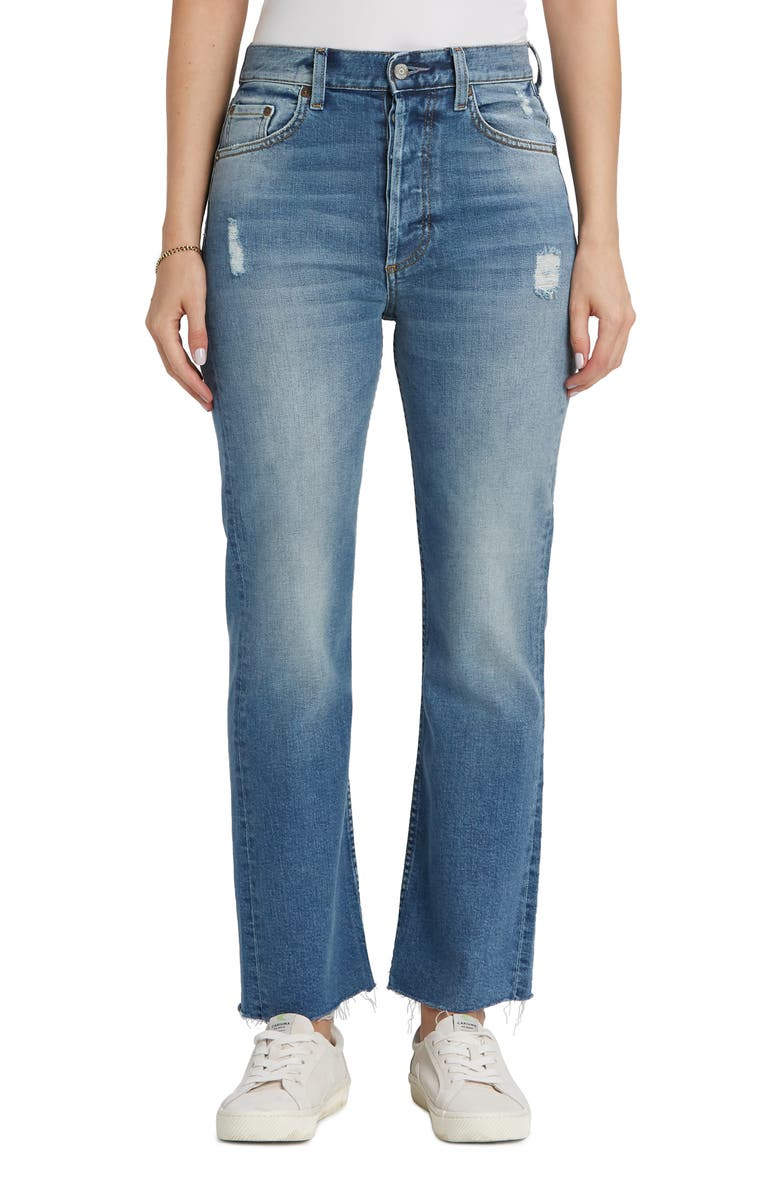 BOYISH JEANS The Brady High Waist Raw Ankle Flare Jeans, Main, color, MERCY ISLAND