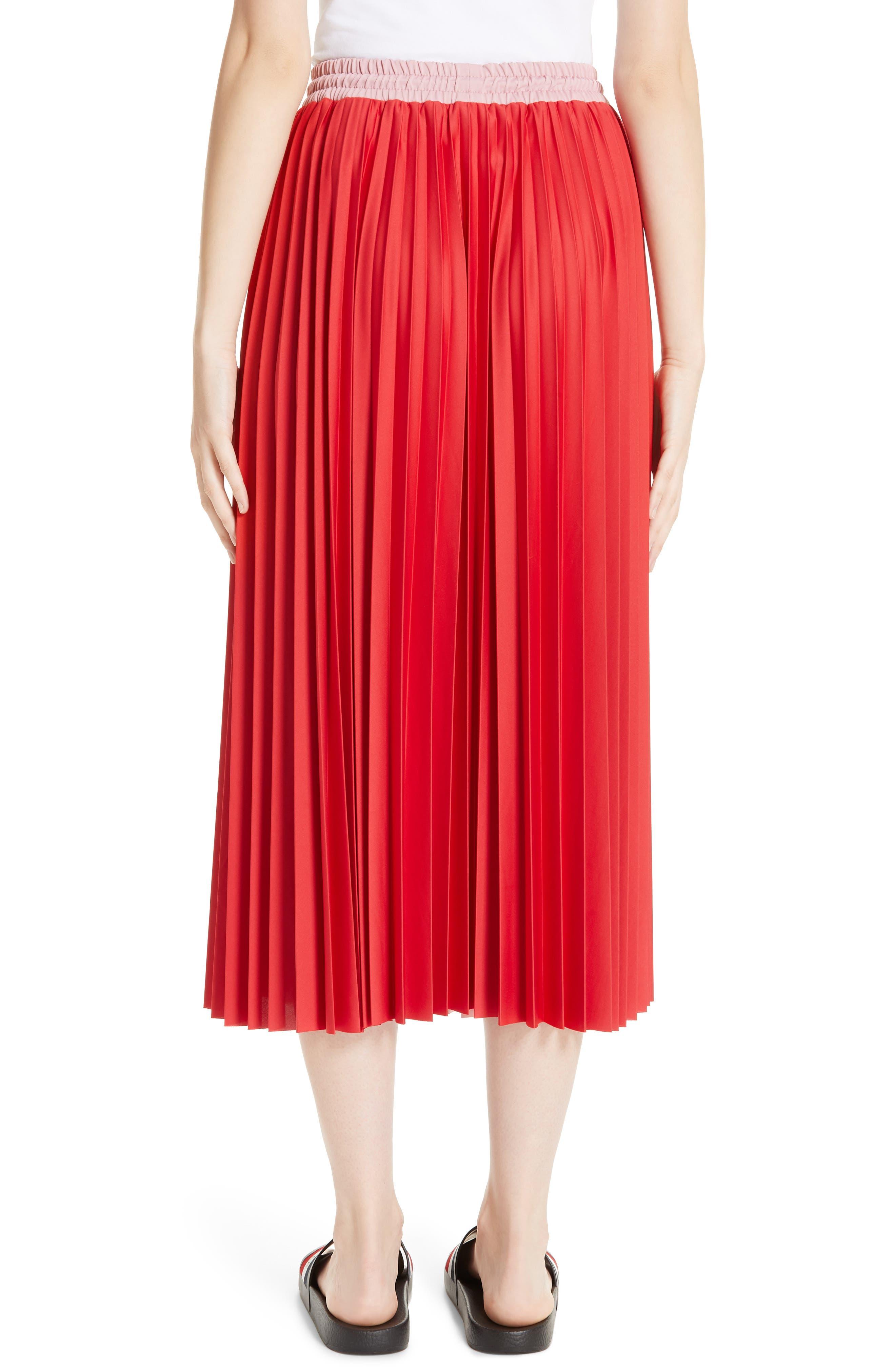 ,                             Colorblock Pleated Skirt,                             Alternate thumbnail 2, color,                             MEDIUM RED