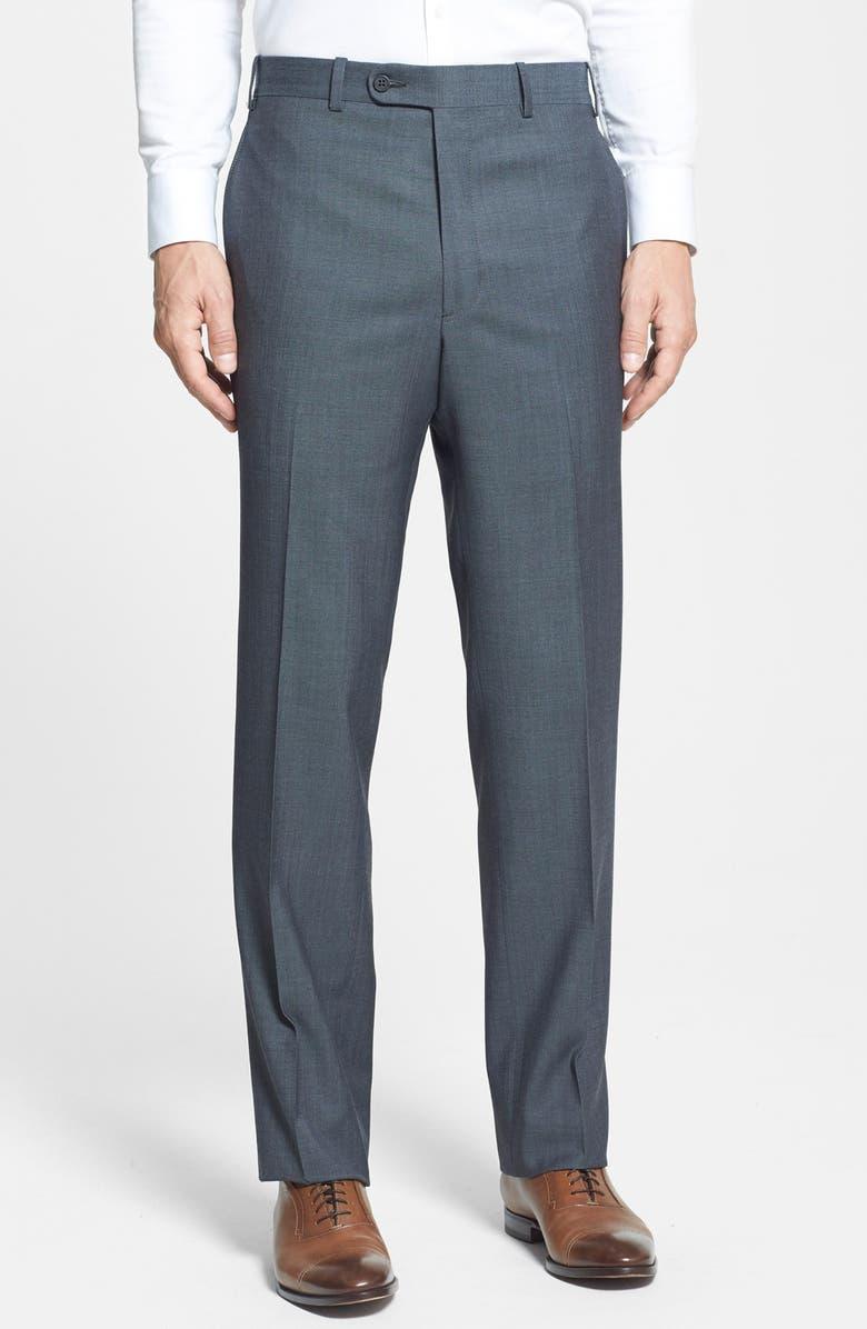 DI MILANO UOMO Flat Front Trousers, Main, color, 020