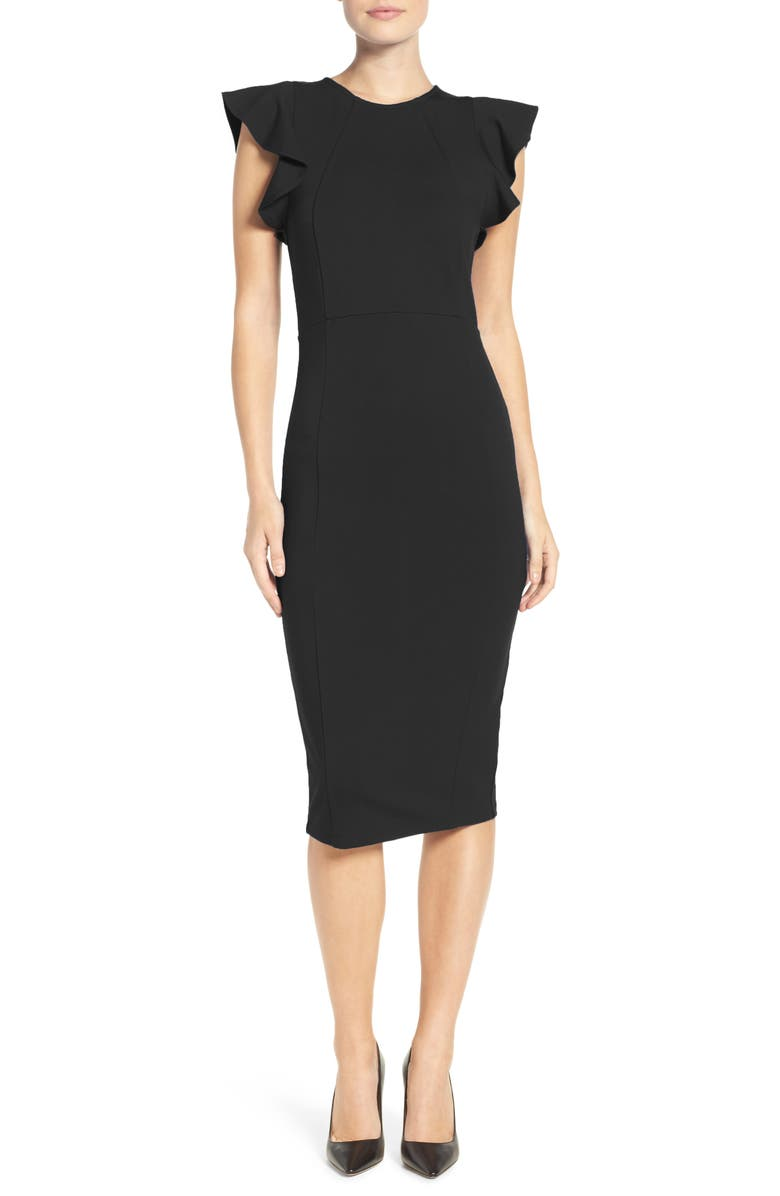 FELICITY & COCO Capriana Ruffle Sheath Dress, Main, color, 001