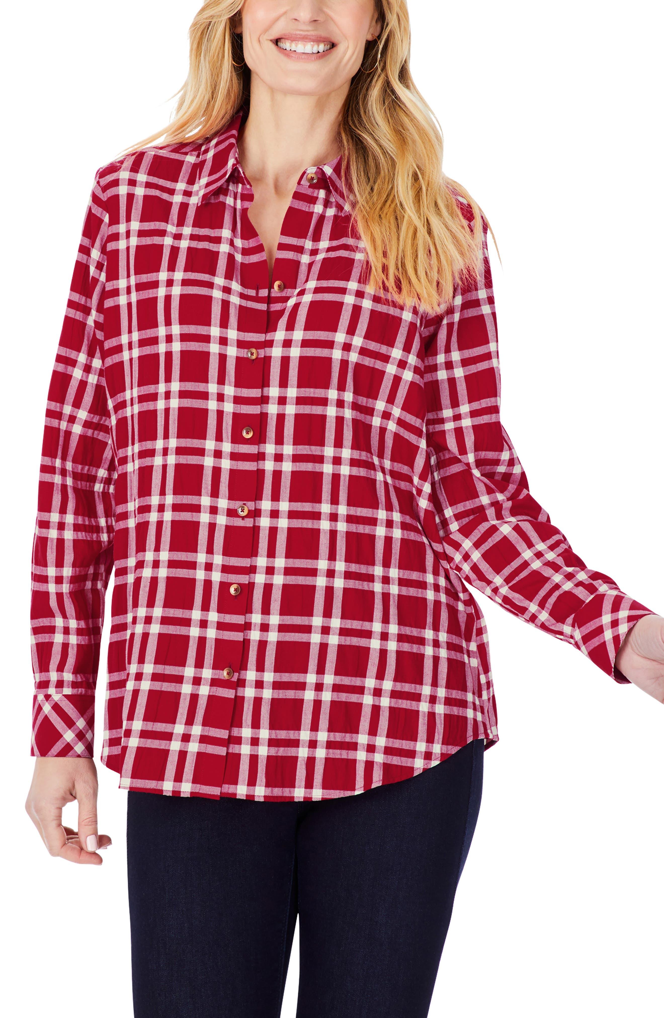 Rhea Plaid Button-Up Tunic Shirt