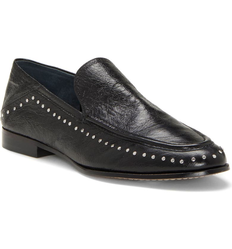 VINCE CAMUTO Jendeya Convertible Studded Loafer, Main, color, BLACK LEATHER