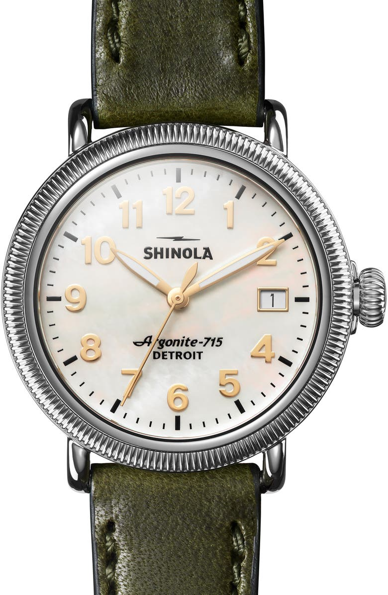 SHINOLA 'The Runwell' Leather Strap Watch, 38mm, Main, color, SPRUCE/ WHITE MOP/ SILVER