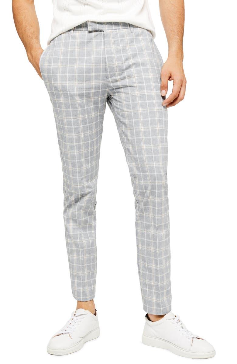 TOPMAN Myth Check Skinny Fit Dress Pants, Main, color, GREY MULTI