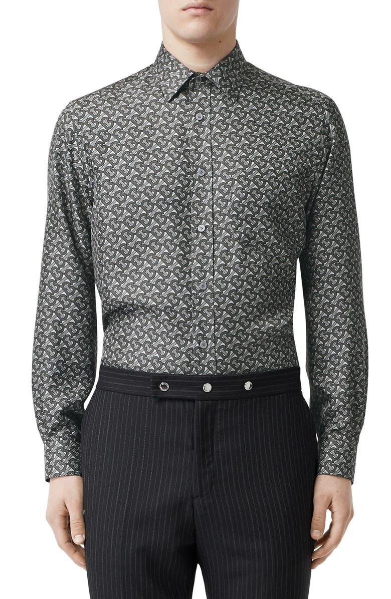 BURBERRY Monogram Silk Button-Up Shirt, Main, color, MID GREY