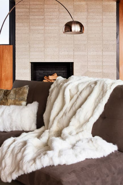 "Image of Natural Genuine Rabbit Fur Throw Blanket - 50"" x 60"" - White"