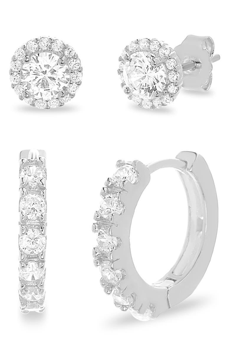 LESA MICHELE Set of 2 Cubic Zirconia Earrings, Main, color, SILVER
