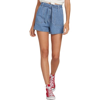 Plus Size Volcom Tongue Tied Pinstripe Belted Denim Shorts, Blue