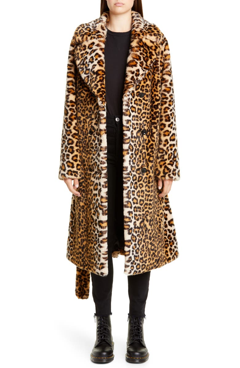 STAND STUDIO Faustine Leopard Print Faux Fur Coat, Main, color, LEO