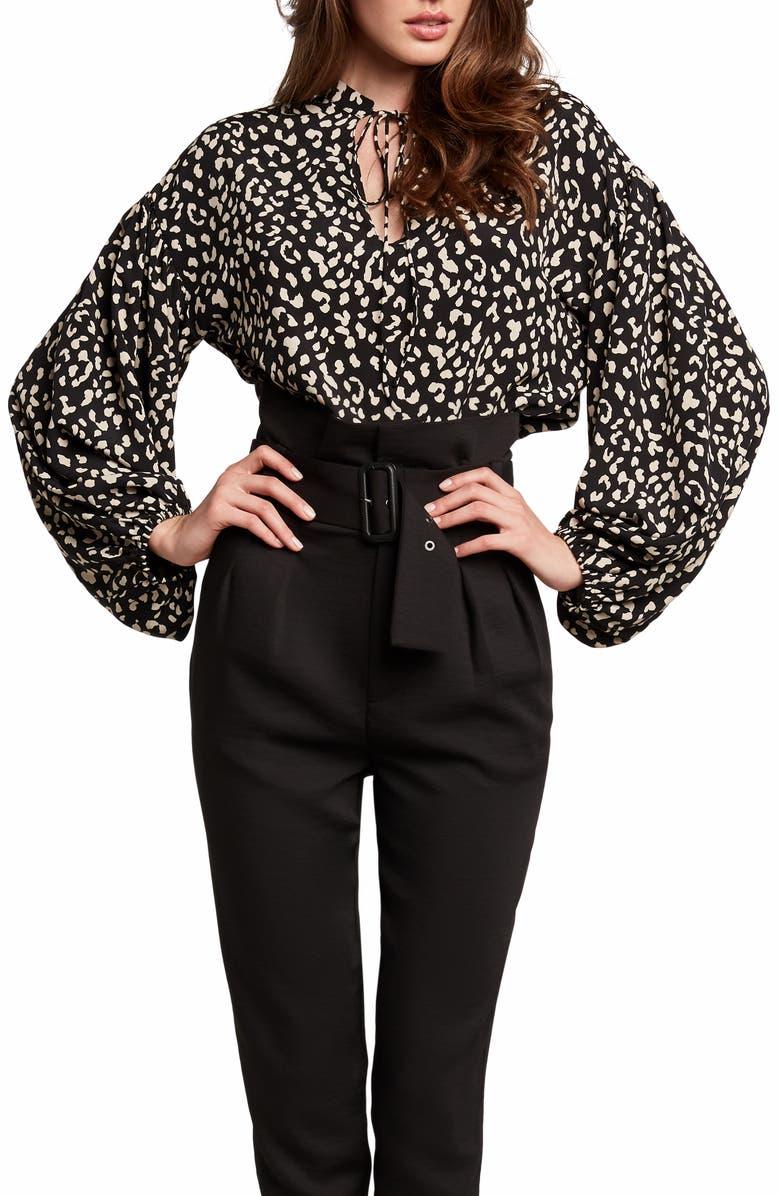BARDOT Rita Leopard Print Tie Neck Blouse, Main, color, B LEOPARD