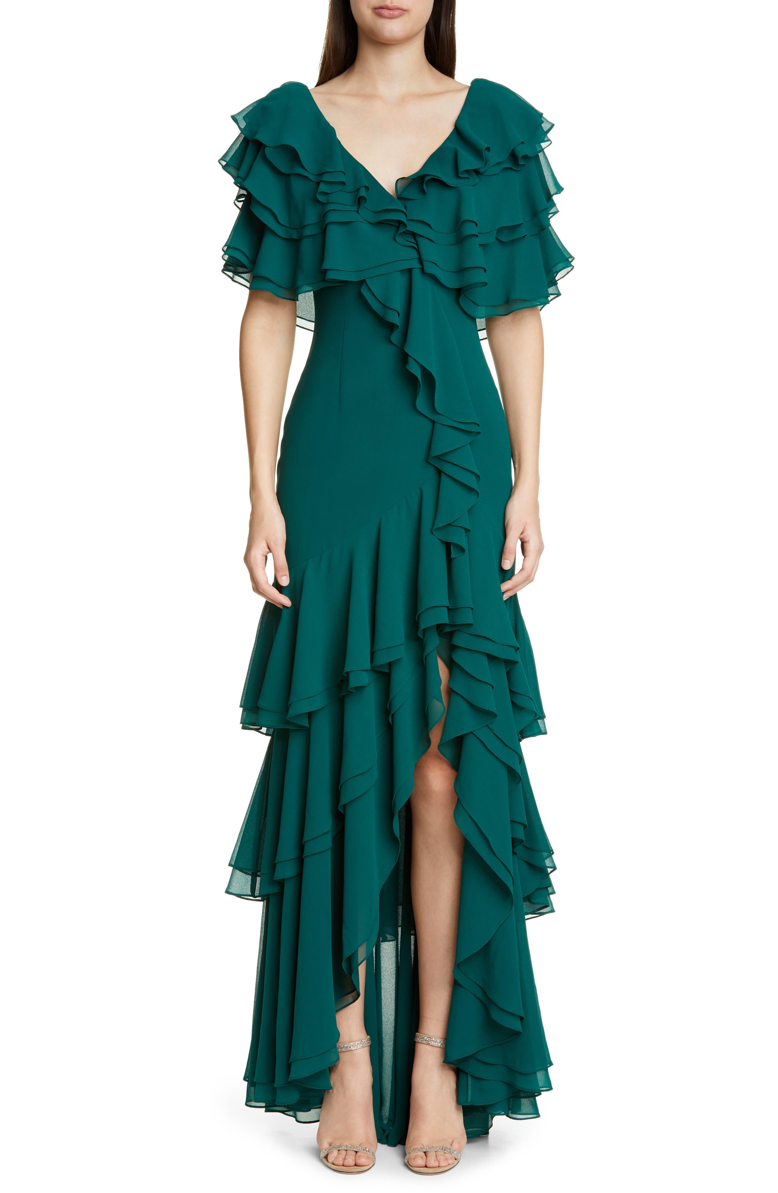 Badgley Mischka Ruffle Evening Gown, Green