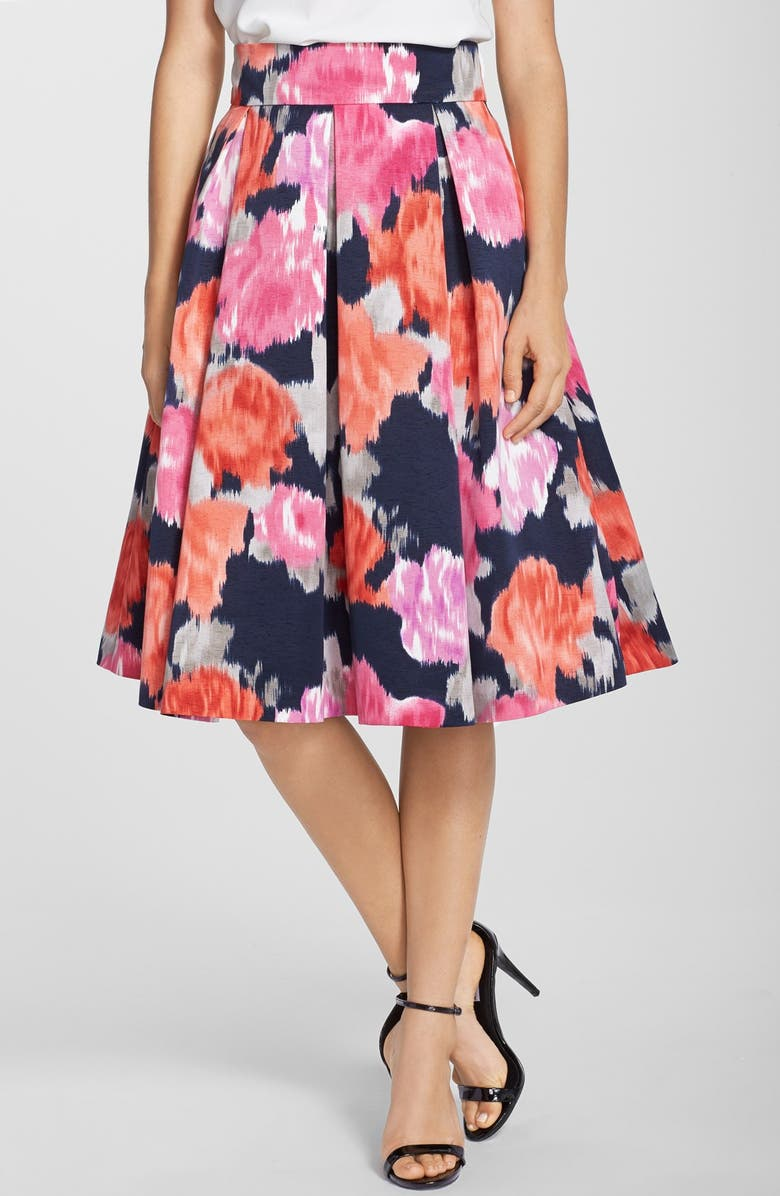 ELIZA J Floral Print Faille Midi Skirt, Main, color, 498