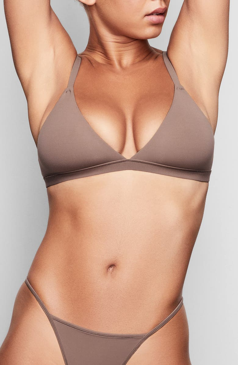 SKIMS Fits Everybody Triangle Bralette, Main, color, UMBER