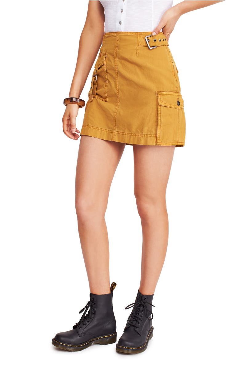 FREE PEOPLE Erika Utility Skirt, Main, color, GOLD
