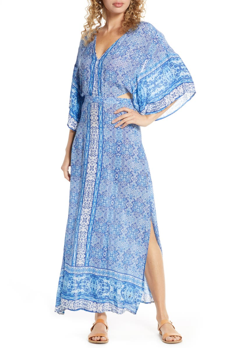 SURF GYPSY Open Back Cover-Up Maxi Dress, Main, color, BLUE