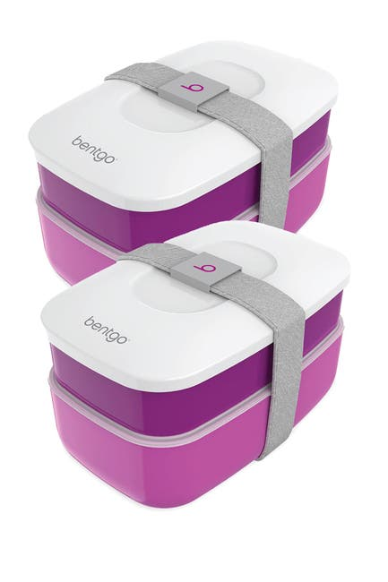 Image of BENTGO 2-Pack of Classic All-in-One Stackable Lunch Box Solution - Purple