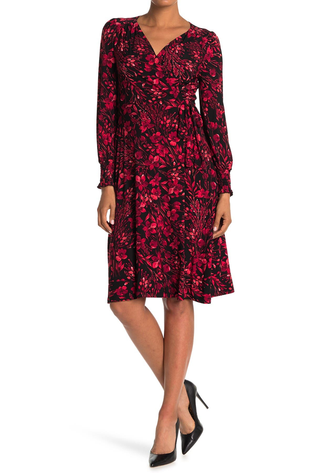 Image of Tommy Hilfiger Long Sleeve Jersey Floral Surplice Neck Dress