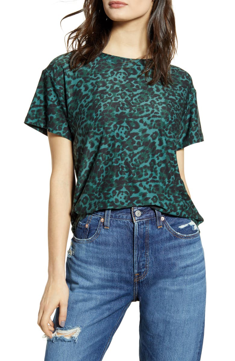SOCIALITE Leopard Print Tee, Main, color, GREEN LEOPARD