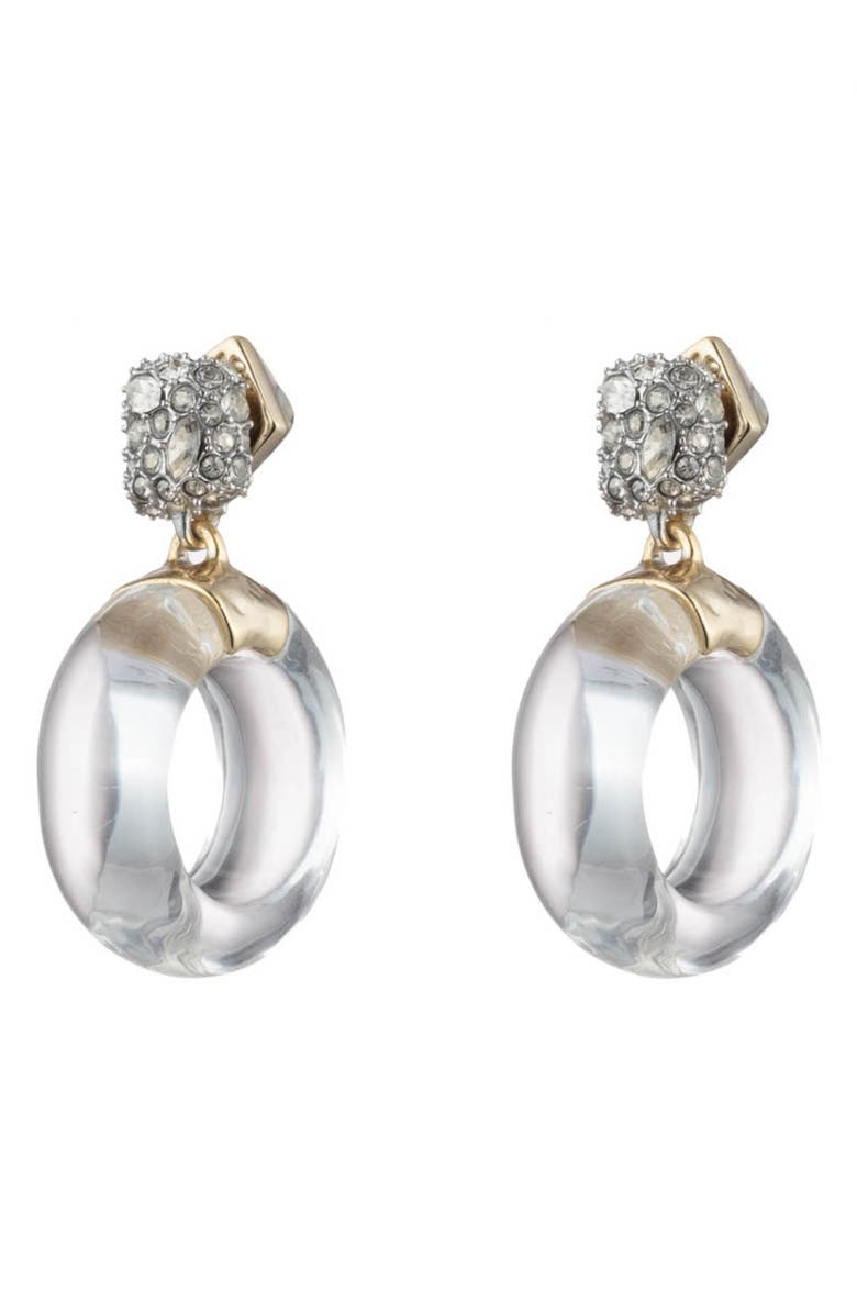 ALEXIS BITTAR Domed Drop Circle Post Earrings, Main, color, CLEAR