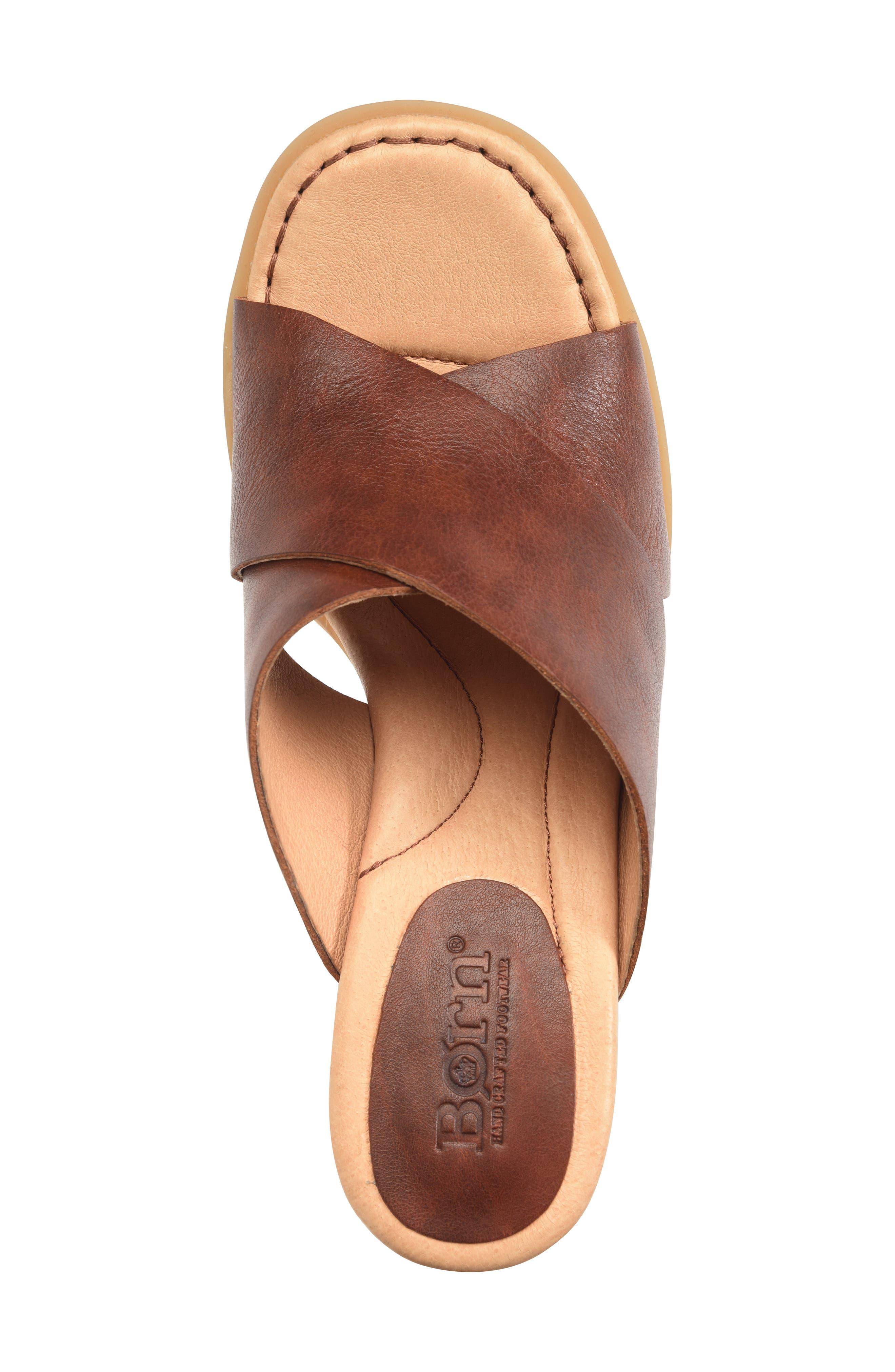 ,                             Madison Cross Strap Slide Sandal,                             Alternate thumbnail 5, color,                             BROWN LEATHER