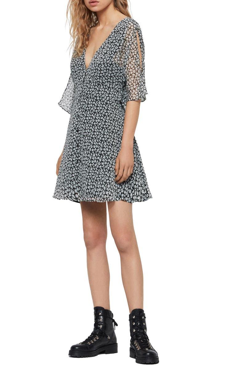 ALLSAINTS Ivey Floral Split Sleeve Minidress, Main, color, GREY