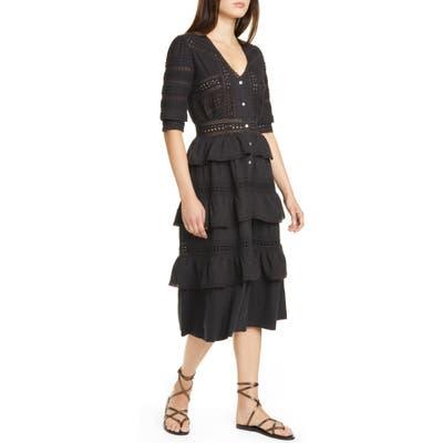 Loveshackfancy Rebecca Tiered Cotton Eyelet Midi Dress, Black