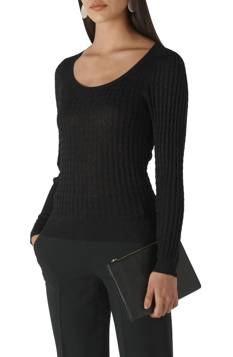 WHISTLES Sparkle Cable Sweater, Main, color, BLACK