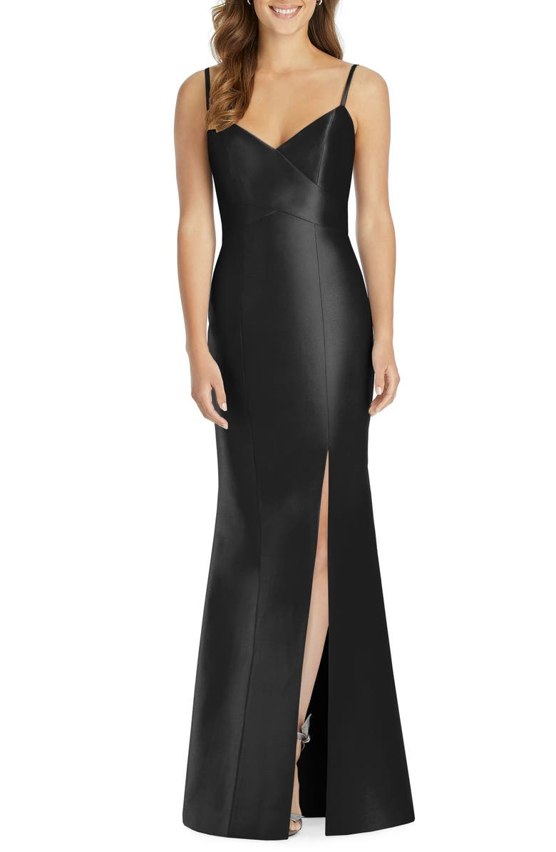 ALFRED SUNG Sateen Twill Trumpet Gown, Main, color, BLACK