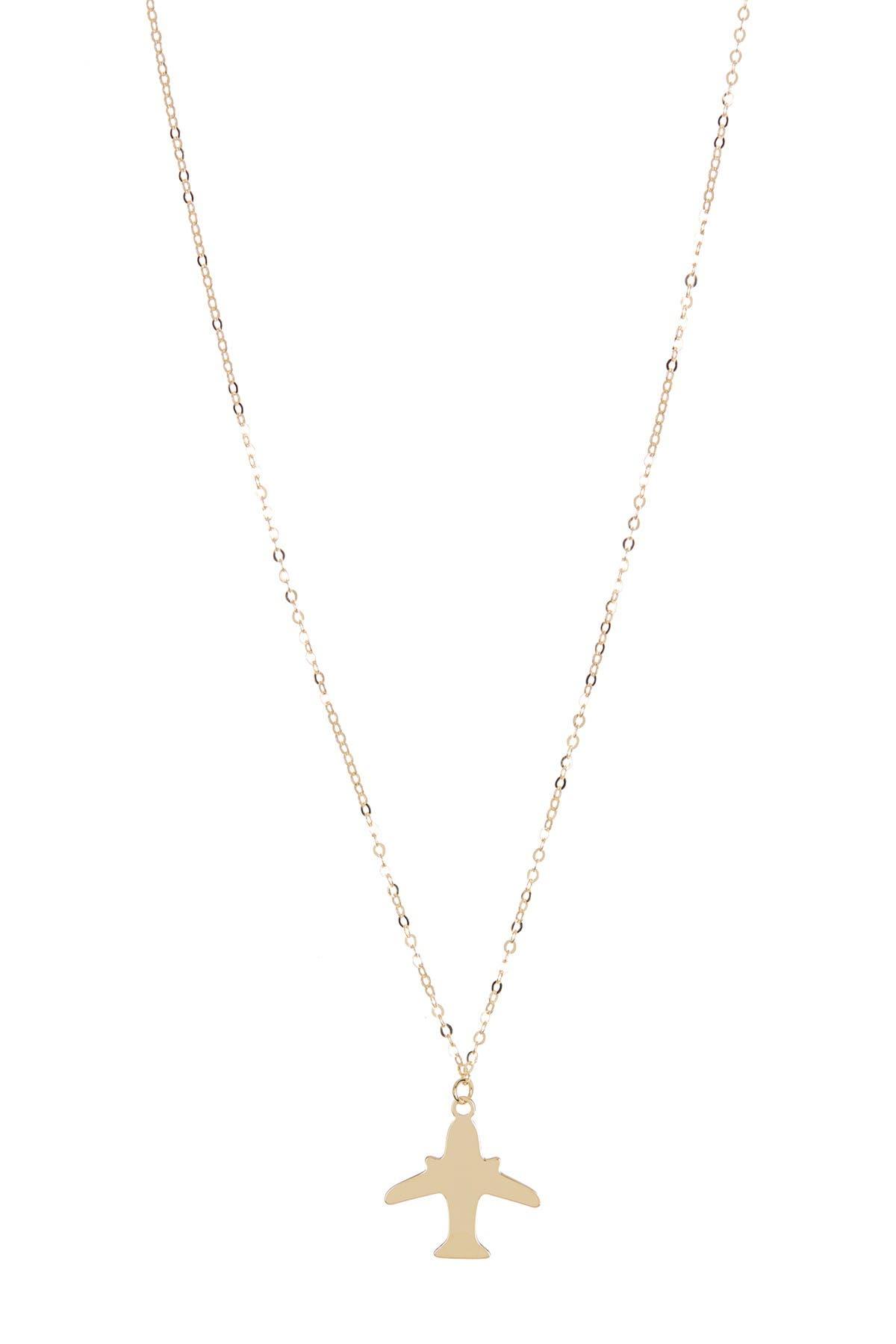 Image of KARAT RUSH 14K Yellow Gold Airplane Pendant Necklace