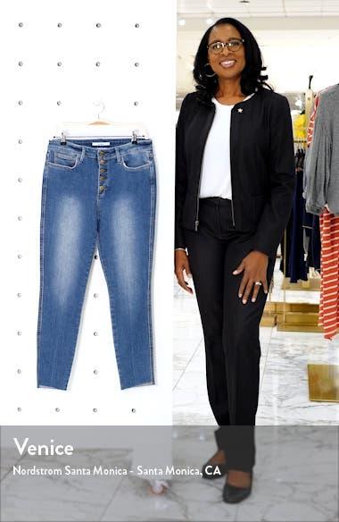 The Stiletto Raw Hem High Waist Ankle Skinny Jeans, sales video thumbnail