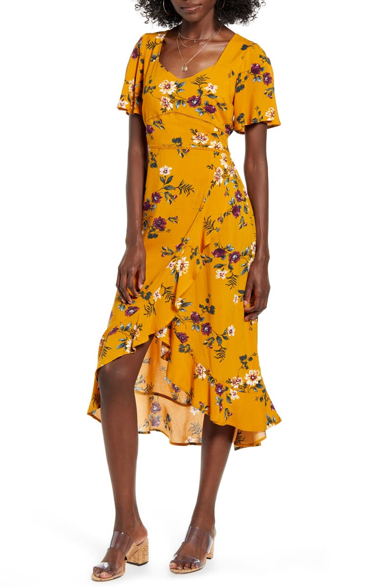 floral-flutter-sleeve-midi-dress by band-of-gypsies