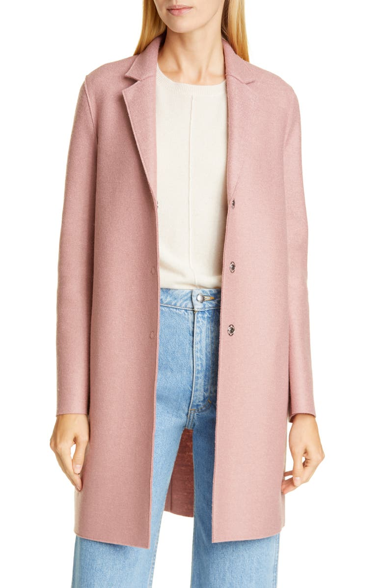 HARRIS WHARF LONDON Classic Cocoon Coat, Main, color, OLD ROSE