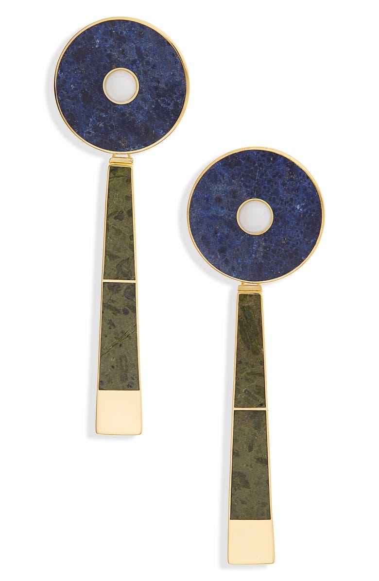 MONICA SORDO Samay Icayo Drop Earrings, Main, color, WHITE/ DUMORTIERITE/ UNAKITE