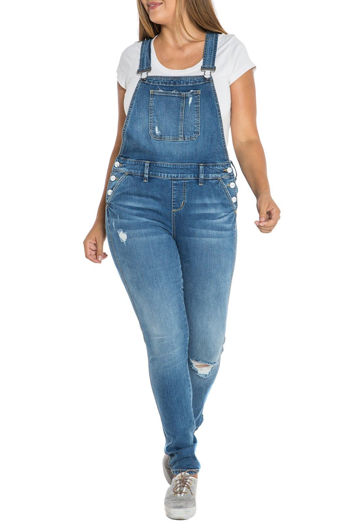 Image of SLINK JEANS Distressed Overalls