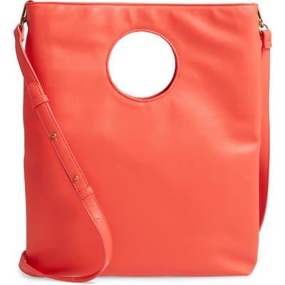 Malibu Skye Circle Cutout Faux Leather Tote - Red