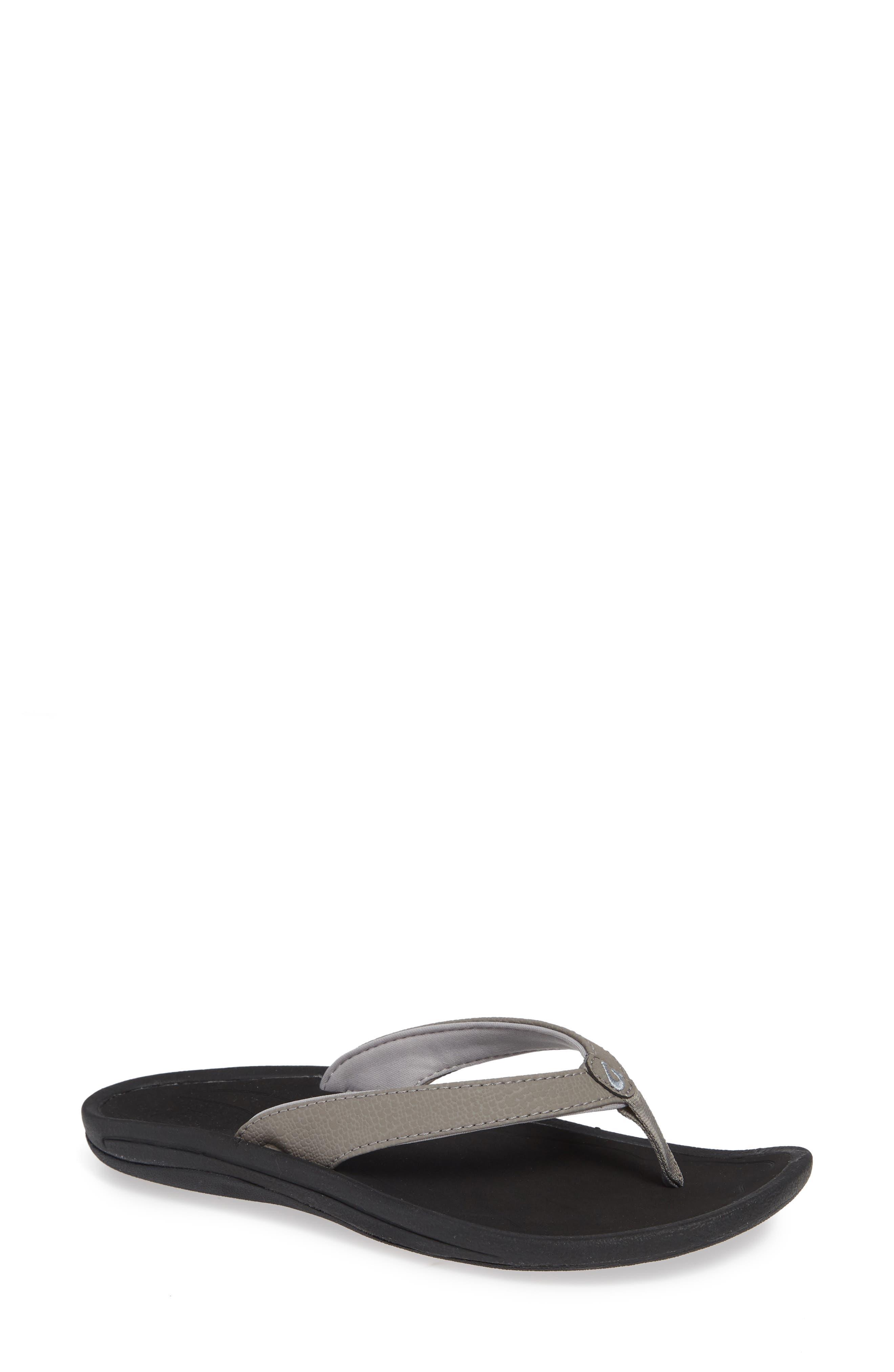 'Kulapa Kai' Thong Sandal, Main, color, FOG/ BLACK FABRIC