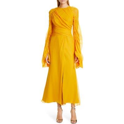 Flor Et. Al Monclova Long Sleeve Silk Chiffon Gown, Yellow