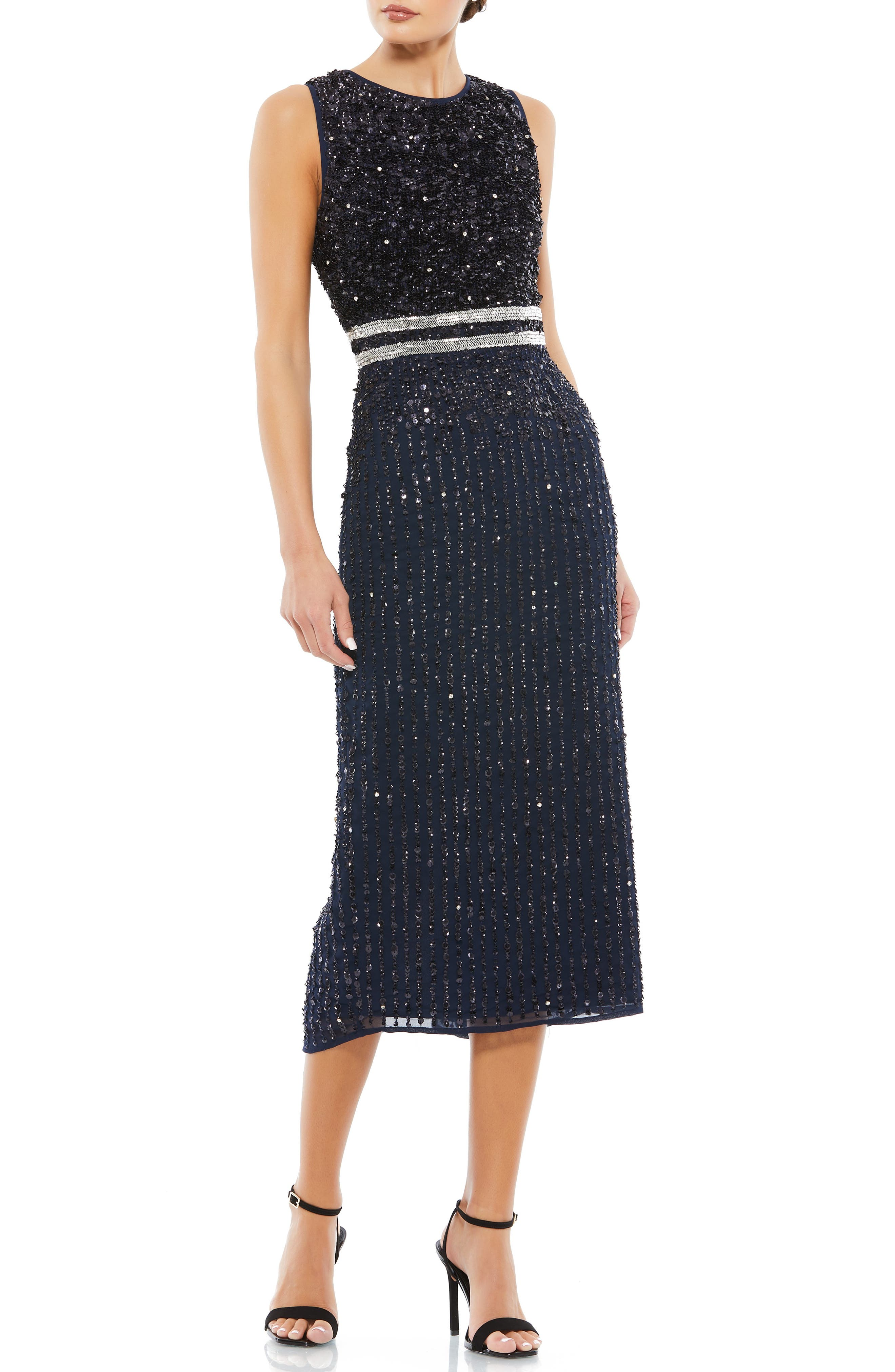 70s Prom, Formal, Evening, Party Dresses Mac Duggal Vertical Sequin Midi Sheath Dress Size 16 in Navy at Nordstrom $398.00 AT vintagedancer.com