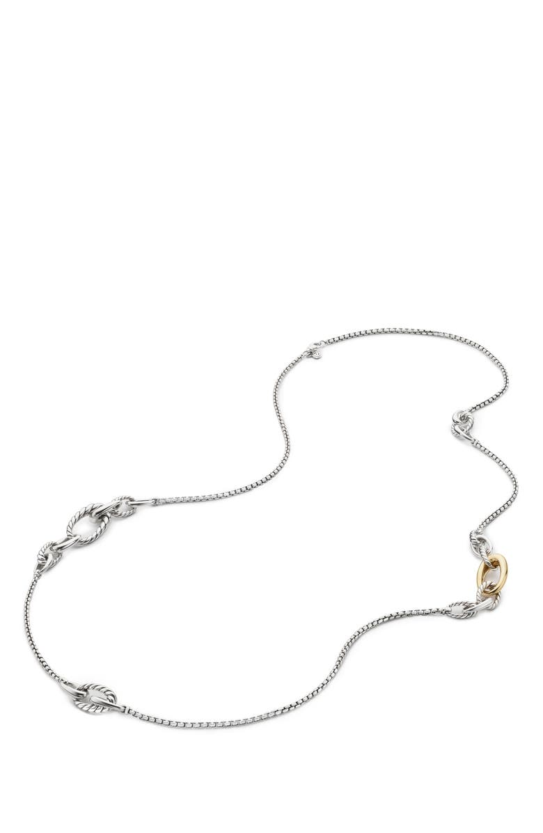 DAVID YURMAN Pure Form Graduated Chain Station Necklace, Main, color, GOLD/ SILVER