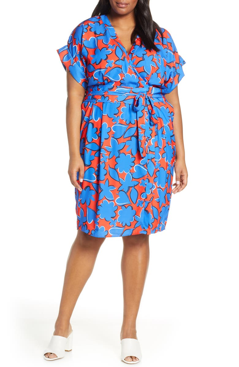 ELOQUII Floral Wrap Dress, Main, color, GO BRIGHT