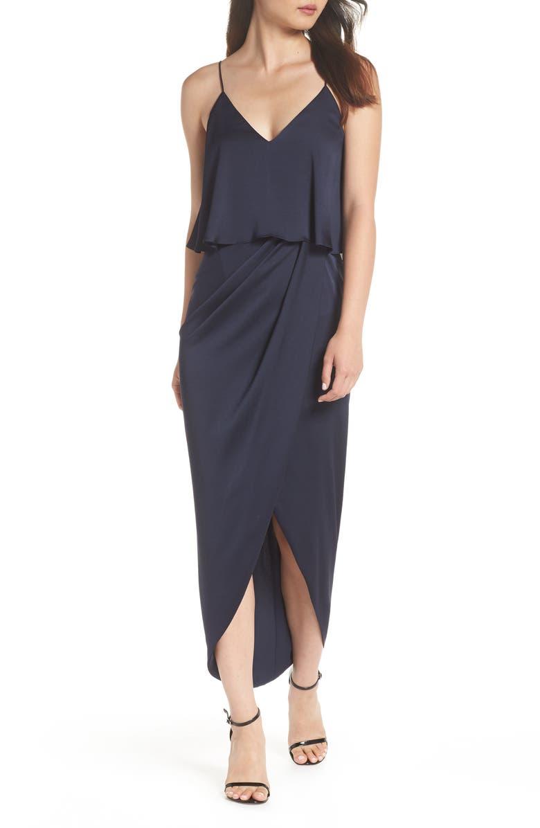 SHONA JOY Luxe Frill Tulip Hem Maxi Dress, Main, color, SAPPHIRE