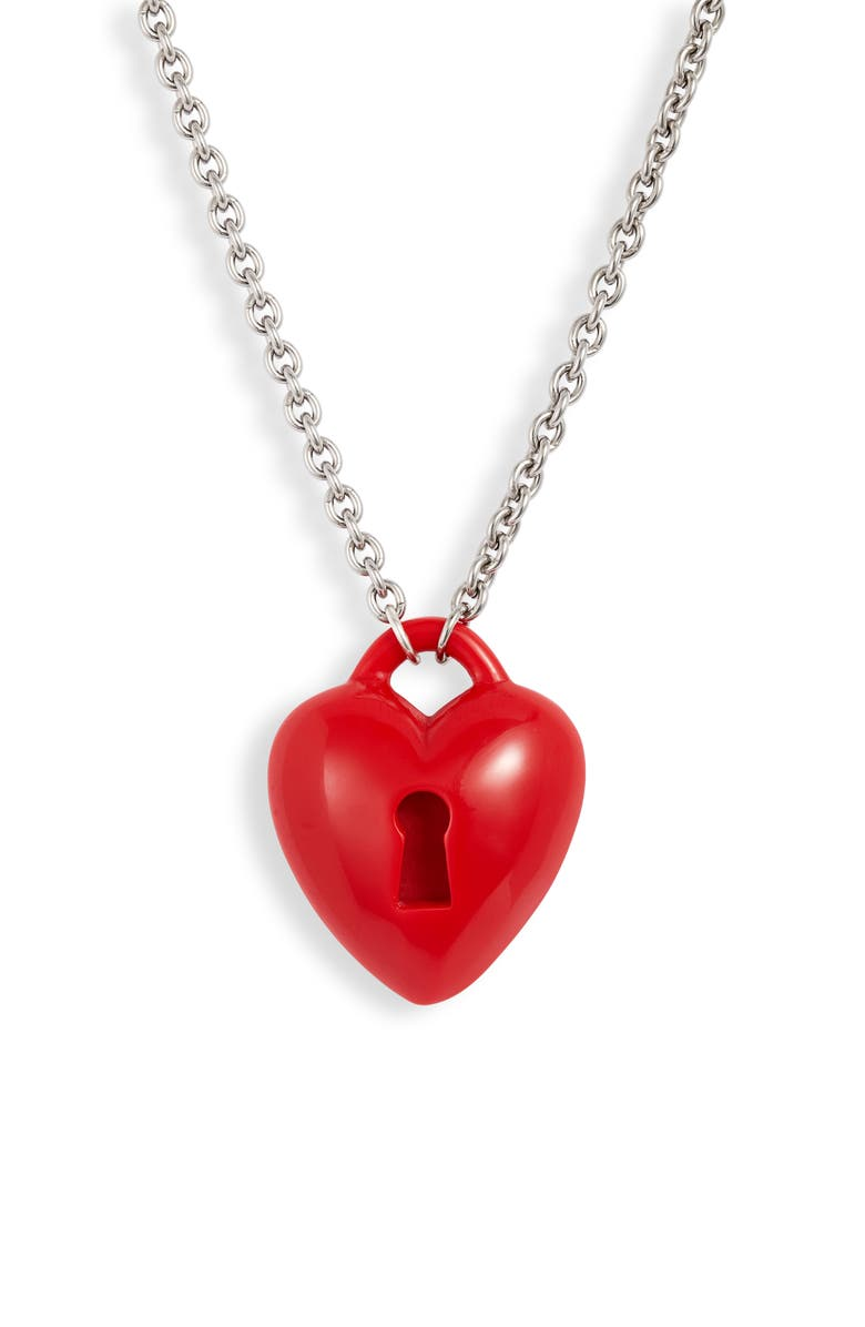 CLASSIC HARDWARE Key To My Heart Necklace, Main, color, RED