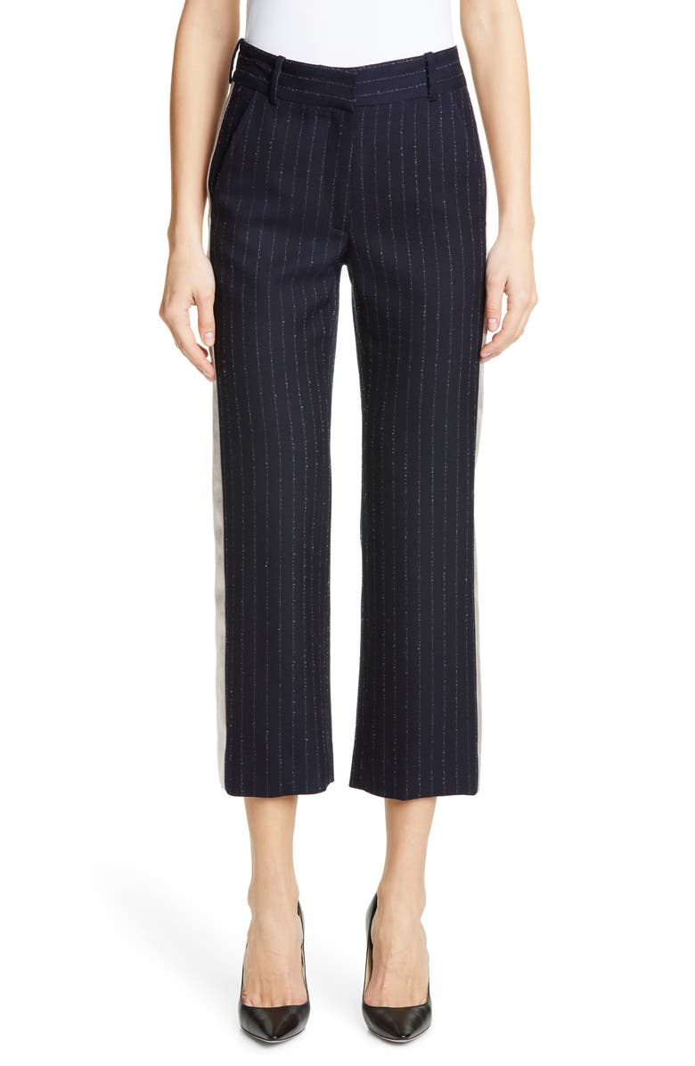SIES MARJAN Satin Trim Pinstripe Crop Trousers, Main, color, NAVY/ SILVER PINSTRIPE