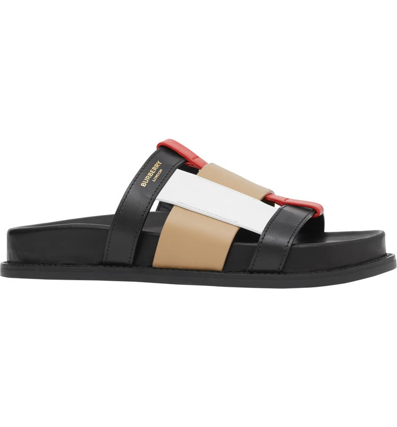 BURBERRY Ellendale Slide Sandal, Main, color, 001
