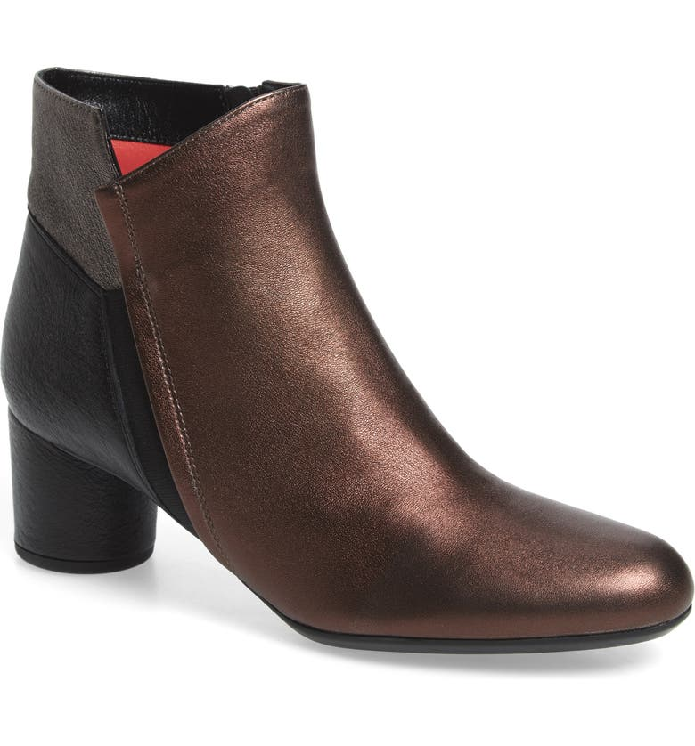 PAS DE ROUGE Lucia Bootie, Main, color, BLACK/ METALLIC LEATHER