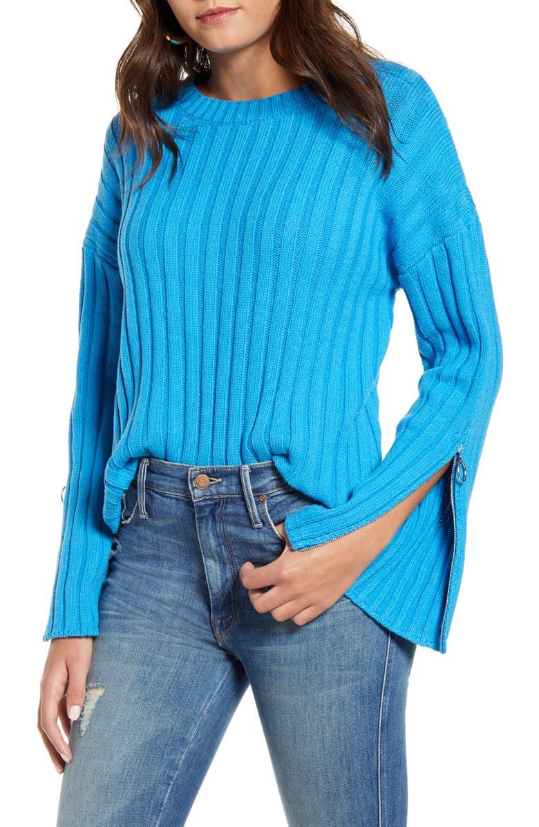 J.O.A. Zipper Trim Sweater, Main, color, CERULEAN BLUE