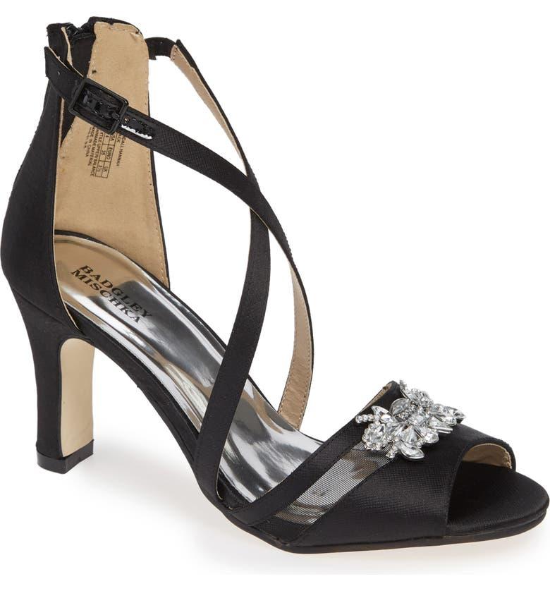 BADGLEY MISCHKA COLLECTION Badgley Mischka Kandall Hannah Embellished Cross Strap Sandal, Main, color, BLACK SATIN